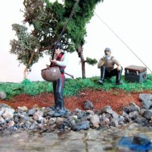 鮎釣りジオラマ