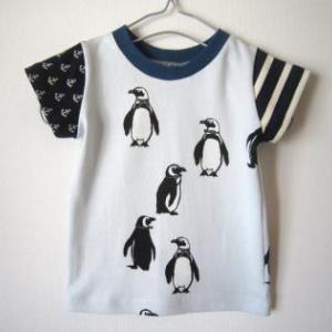 puriri ペンギン柄生地 Tシャツ