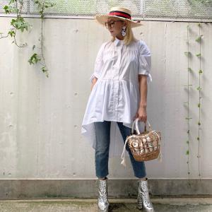 SALE★フィッシュテールのホワイトシャツとハトメのデニム