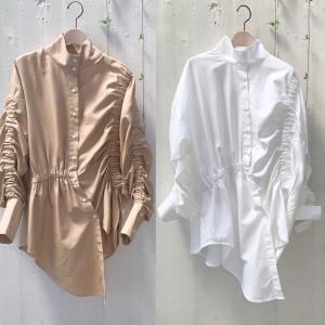 2020AW【OSKER】シャーリング ボリュームシャツ