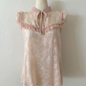 30% OFF【Rinascimento】フラワーシフォン ラッフルブラウス (Pink)
