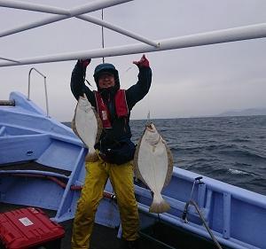 10月19日ヒラメ 小樽つり船シェイク