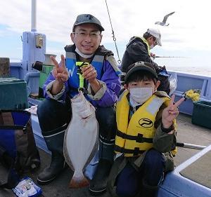 7月19日午前、午後ヒラメ 小樽遊漁船シェイク