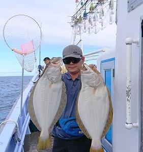 7月25日、26日ヒラメ 小樽遊漁船シェイク