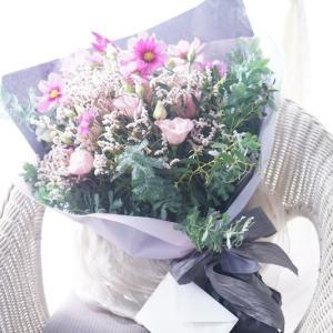 ナチュラル&シャビーなブーケスタイル♪コスモスの秋色花束【花贈りのヒント】