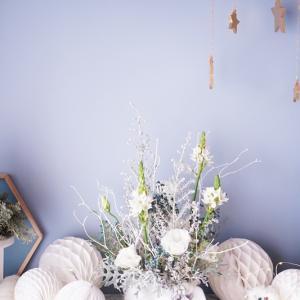 冬のパリスタイル♪白銀色♡ピュアホワイトなノエルアレンジ【12月パリのお花屋さんレッスン案内】