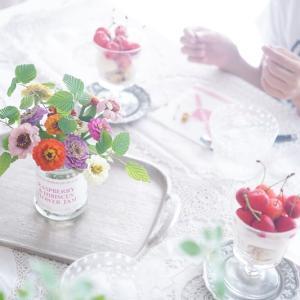 ジャムの空き瓶に可愛く♪夏の花・ジニアの小さな花飾り♡