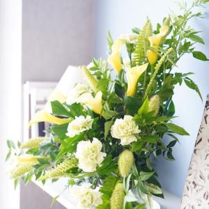 爽やかな夏色配色♪黄~グリーンの花色で作る基本の三角形~レッスンレポート~