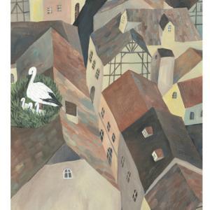今日の絵「コウノトリの町」