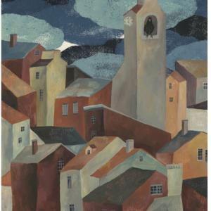 今日の絵「塔のある町」