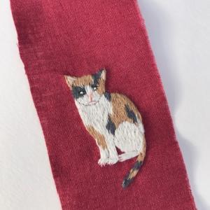 三毛猫の刺繍ができました。