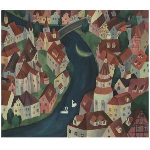 今日の絵「三日月も眠る町」
