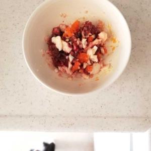 馬肉ミンチとゆで卵(猫ごはん)