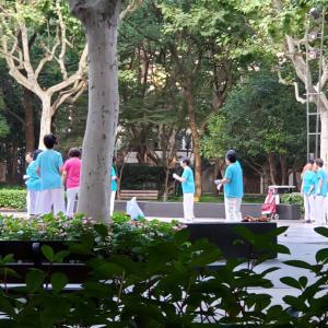 広場ダンスを初体験「楽しい!」