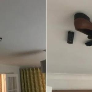 父親の持ち物を天井に貼り付けるというドッキリをしかけた息子、父親はいつ気が付くのか?