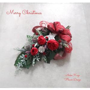 クリスマスのスワッグ 赤い薔薇のスワッグ