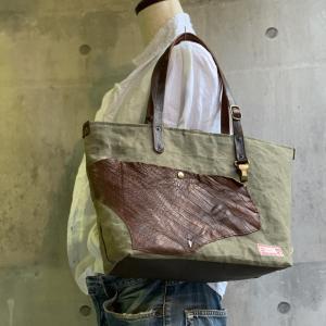 ヴィンテージレザーストラップとミリタリーたっぷりトートバッグ *リネン×革×真鍮フックのチョークバッグ&ポーチ*コインケースとペンケース
