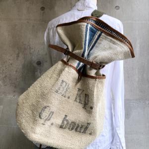 革×アンティークグレインサック、ヴィンテージ郵便袋のボンサック*真鍮フック2wayポーチ*アンティークリネンと革のコロンとトート