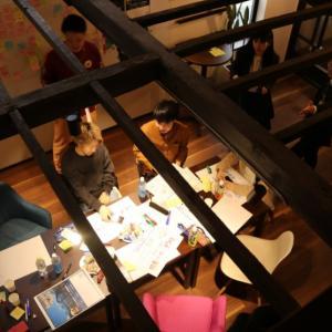 Hana工房でプレイベント。学生団体withが主体で県のFUKUI未来トークを実施。