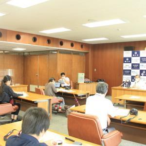 鯖江市定例記者会見2020年7月で第13回オンラインプランコンテストの説明!