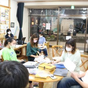 眼鏡堅パン食べながらプランコンテストの運営確認。学生団体with会議。