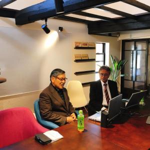 牧野(前)市長がオンラインインタビュー。Hana工房ご利用いただきました。