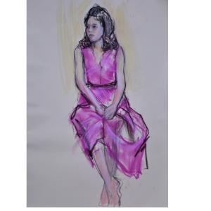 ピンクのワンピ、着衣女性モデルでパステル画