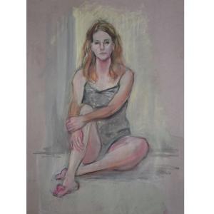 パステル画女性モデル、#パステル画家