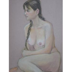パステル画、女性ヌードポーズ