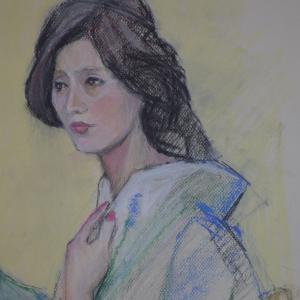 パステル画スケッチ、着物の女性