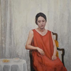 油彩での人物画ですが、大きい作品の部分です。