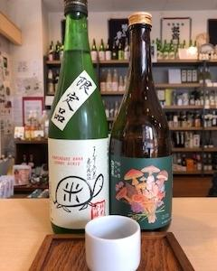 日の丸醸造『まんさくの花 純米吟醸 亀ラベル55』と諏訪酒造『諏訪泉 純米吟醸 杉の雫』
