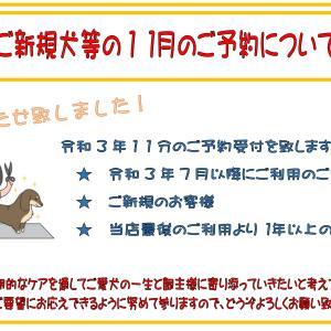 9/24(金)よりご新規様の令和3年11月ご予約受付開始です