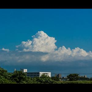 英藍高校に立ち登る夏雲