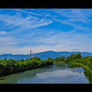 新緑の中の発寒川と手稲山