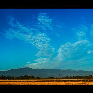 手稲山からvの字に湧き上がる雲