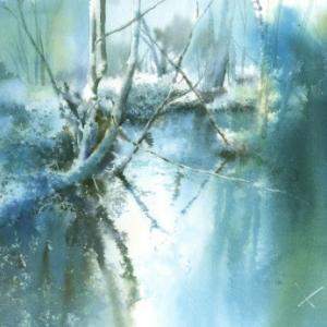 水面 水彩画