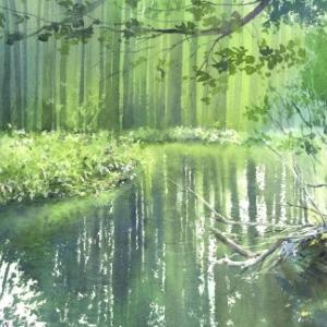水彩画 反映 リフレクション