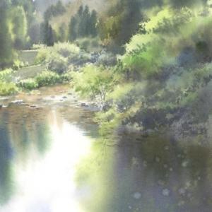 反射 水彩画