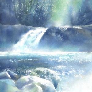 水彩画 菊池渓谷