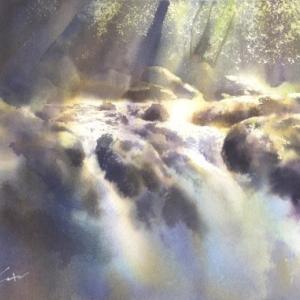 菊池渓谷 水彩画