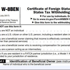 W-8BENの書き方 なぜ出すのかとその注意点