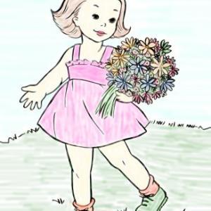 イラスト「お花を見直して卵を集める」