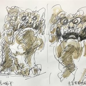 意冨布良(オオフラ)神社の狛犬四体
