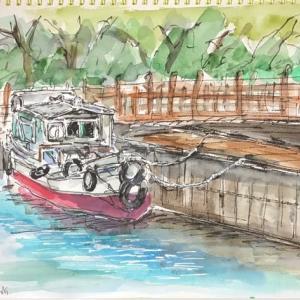 膳所城趾公園横の船溜まり