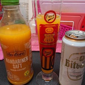 ビールとオレンジジュース