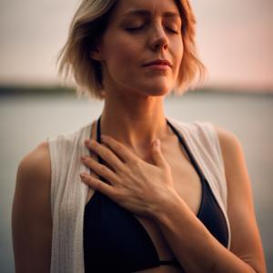 腹式呼吸を意識する。