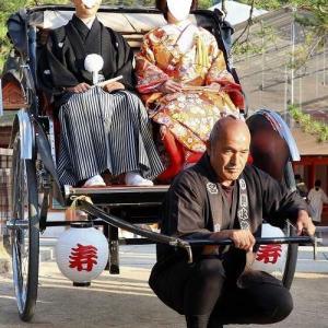 厳島神社 ちょんまげの人力車が素敵