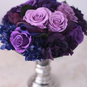 紫色のバラを使ったアレンジメントレッスン♪