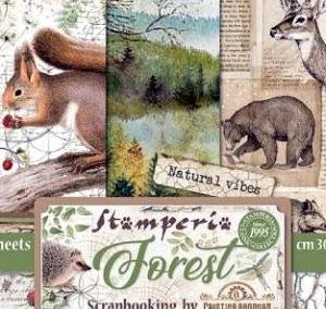 stamperia forestコレクションでブロッキングレイアウト
